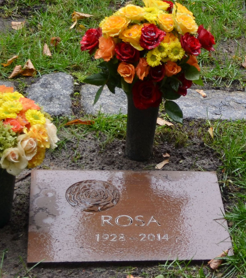 Grabstein für halbanonymes Grab mit Rosensymbol