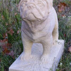 Skulptur eines Mopses aus Sandstein im Gras