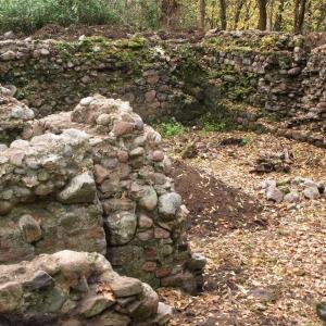 Ruine mit vermoosten Steinen vor der Restaurierung