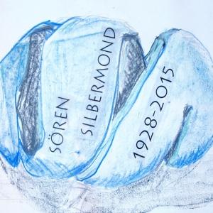Zeichnung einer Zitrone in blau und schwarz für Grabstein